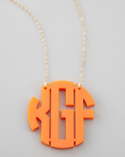 Large Acrylic Block Monogram Pendant Necklace