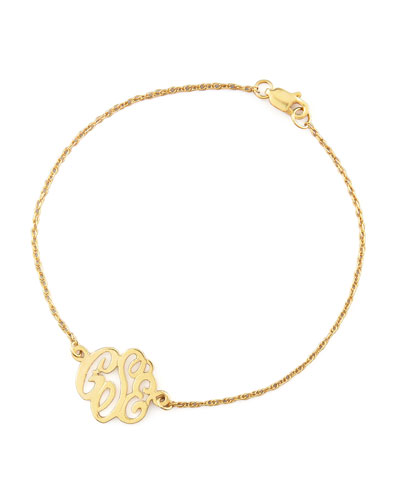 Mini Gold Script Monogram Bracelet
