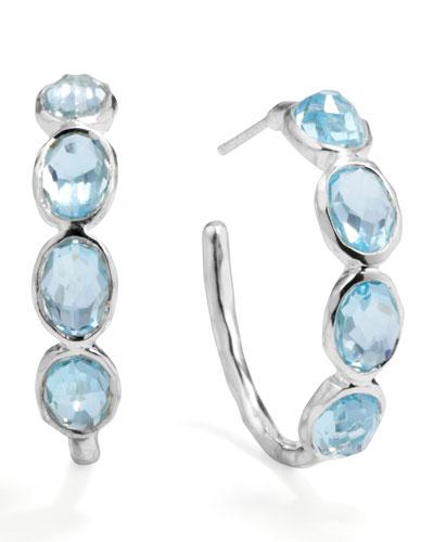 Silver Blue Topaz Hoop Earrings