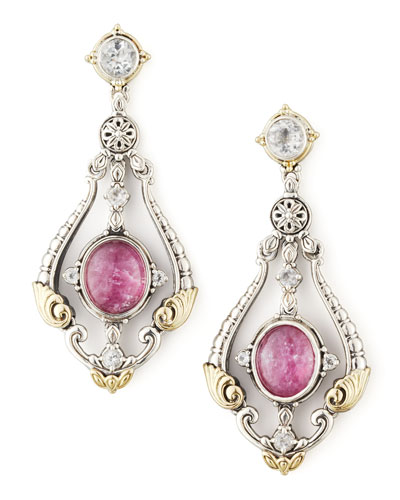 Ruby/Quartz Doublet & Sapphire Chandelier Earrings