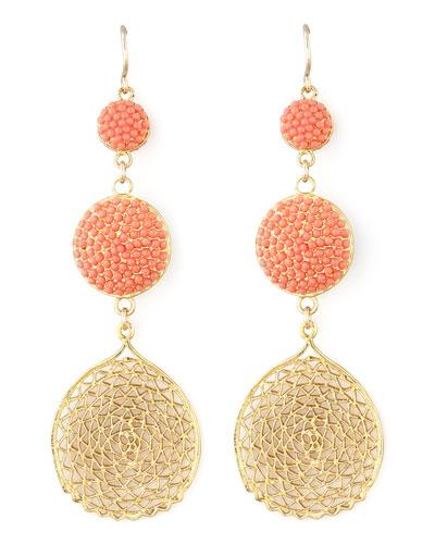 Pave Crystal & Web Drop Earrings
