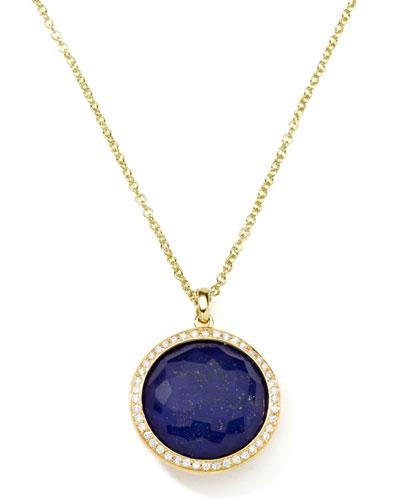 Rock Candy 18k Gold Lollipop Diamond Pendant Necklace, Lapis