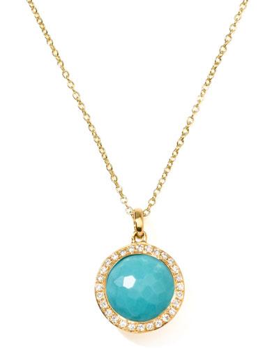 18k Gold Rock Candy Mini Lollipop Diamond Turquoise Necklace