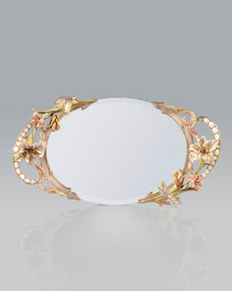 Jay Strongwater Floral and Scroll Mirrored Tray