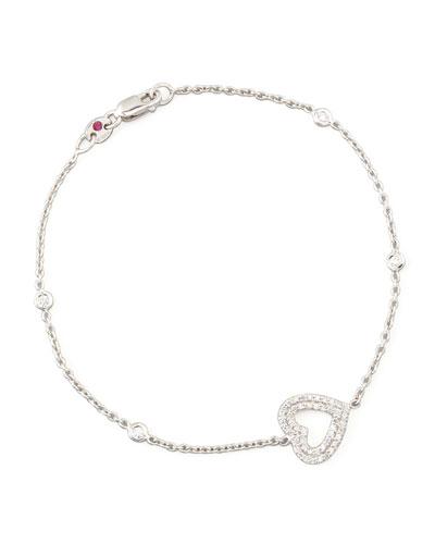White Gold Heart Diamond Bracelet