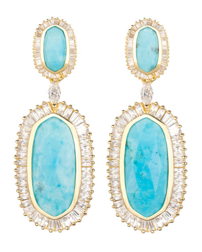 Baguette-Trim Oval Drop Earrings, Turquoise