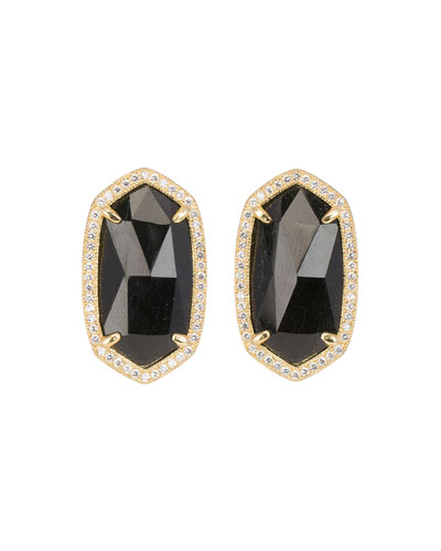 Pave-Trim Black Tourmaline Stud Earrings