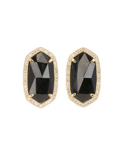 Pave-Trim Black Tourmaline Stud Earrings