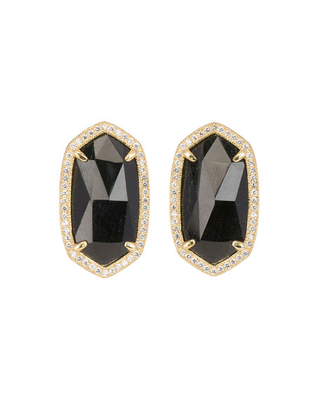 9c3705613 Kendra Scott Pave-Trim Black Tourmaline Stud Earrings