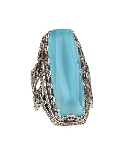 Faceted Turquoise & Rock Crystal Doublet Ring