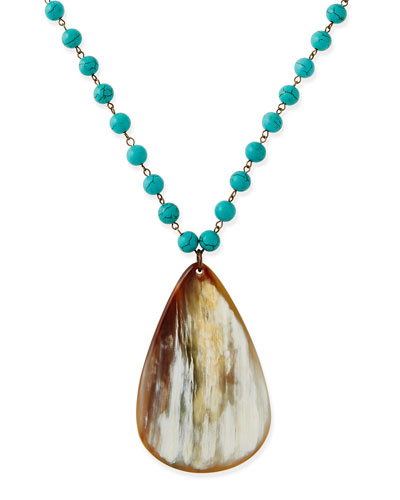 Turquoise Beaded Necklace with Horn Teardrop