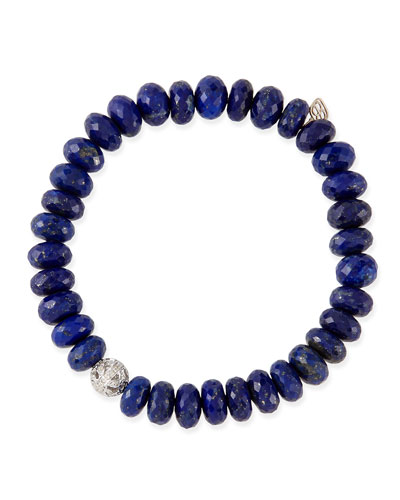 8mm Faceted Lapis Beaded Bracelet with 14k Gold/Diamond Ball Charm