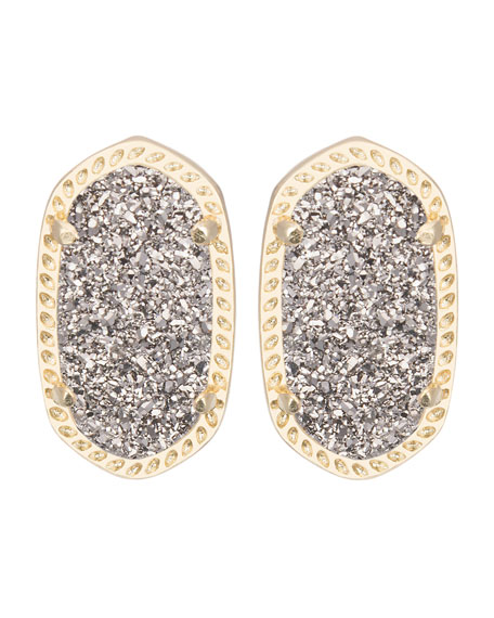 silver ballog stud druzy the earrings