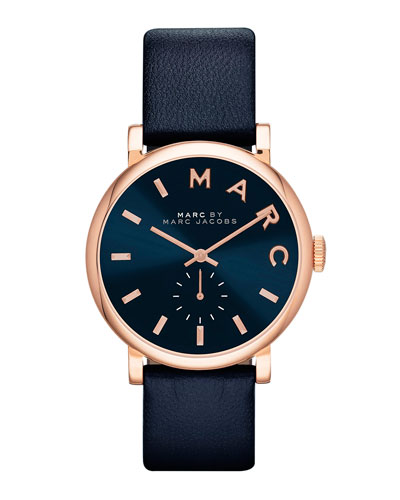 Baker Analog Watch with Leather Strap, Rose Golden/Navy