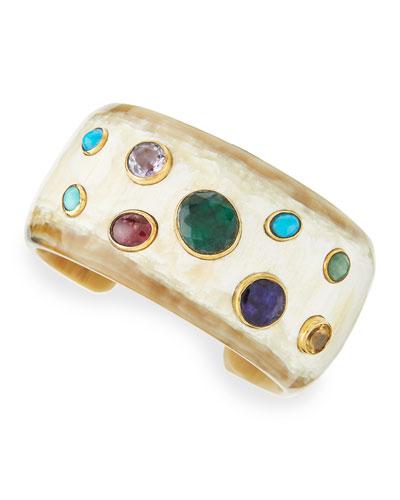 Macho Multi-Stone Cuff, Light Horn