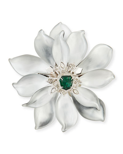 Fancy Green Crystal-Encrusted Articulating Flower Brooch