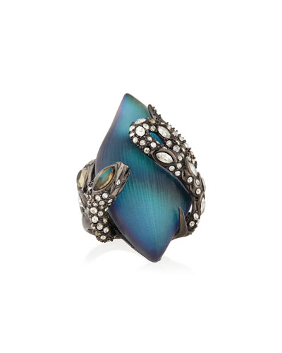Crystal Lace Snake Ring