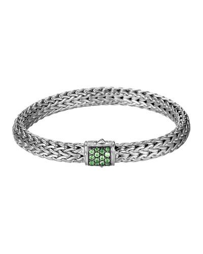 Classic Chain 7.5mm Medium Braided Silver Bracelet, Tsavorite
