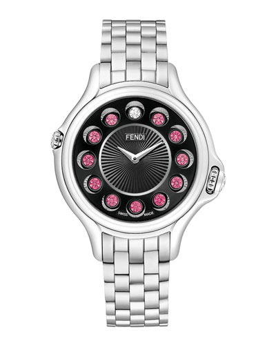 Crazy Carats Stainless Steel Topaz Watch with Black Dial, 2.9 TCW