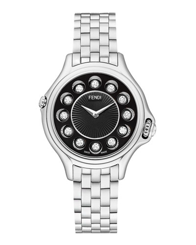 Crazy Carats Stainless Steel Topaz Watch with Black Dial, 1.5 TCW