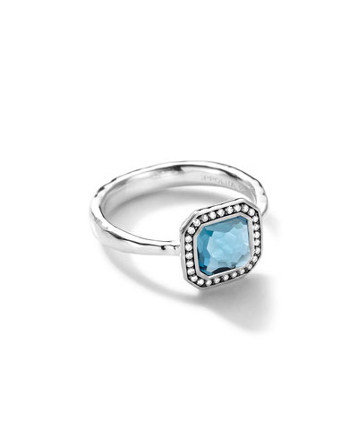 Sterling Silver Stella Square London Blue Topaz Ring with Diamonds