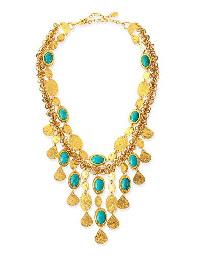 24k Gold Plate & Turquoise Bib Necklace