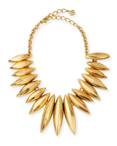 Golden Ridged Disc Necklace