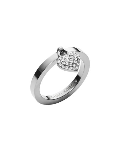 Silvertone Pave Puffy Heart Charm Ring