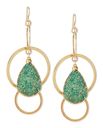 24k Gold-Plate Druzy-Drop Hoop Earrings