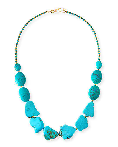 Long Turquoise Stone Necklace