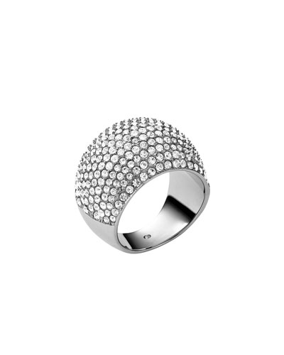 Pave Dome Ring, Silver Color