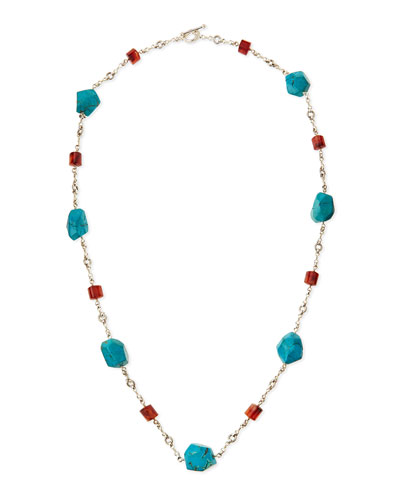 Turquoise & Red Agate Silver Necklace