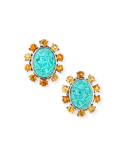 Carved Turquoise Clip-On Earrings