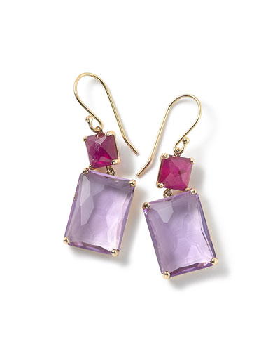 18k Gold Rock Candy Rectangle Ruby & Amethyst Earrings