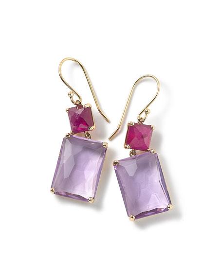 18k Gold Rock Candy Rectangle Ruby Amethyst Earrings