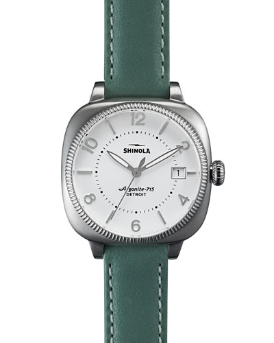 36mm Gomelsky Leather Strap Watch, Teal