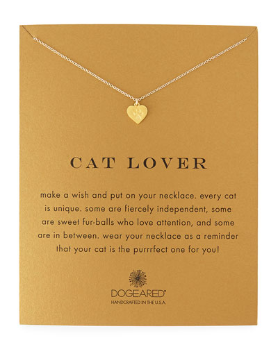 Cat Lover Gold-Dipped Pendant Necklace