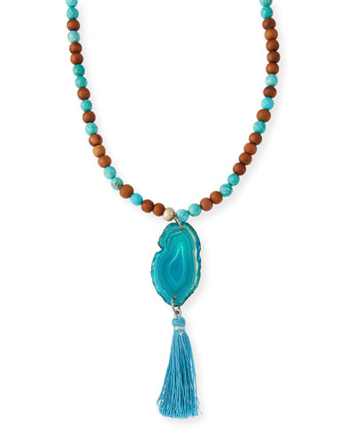 Turquoise & Sandalwood Tassel Necklace