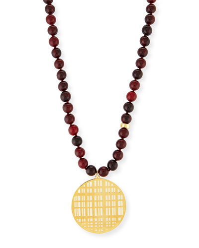 Red Horn Bead Necklace with Pendant, 34""