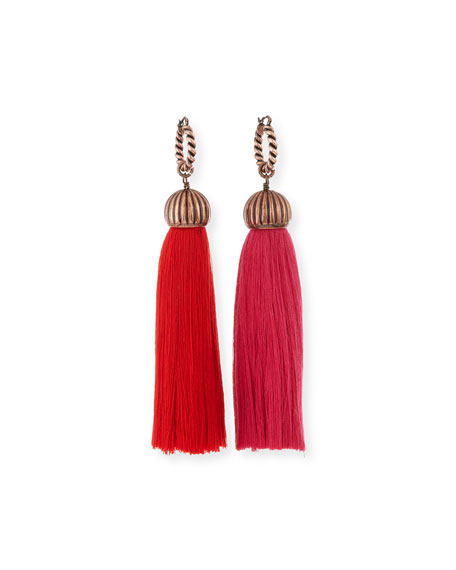Tassel Drop Earrings, Red/Pink Lanvin Tassel Drop Earrings, Red/Pink - 웹