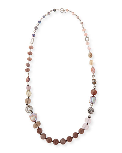 Long Mixed-Stone & Pearl Necklace, 38