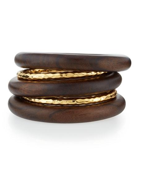 Nest jewelry 5 piece 22k gold plate ebony wood bangle set for 22k gold jewelry usa