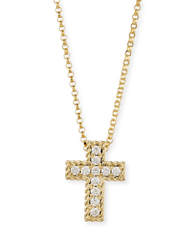 Diamond Cross Pendant Necklace in 18K Gold