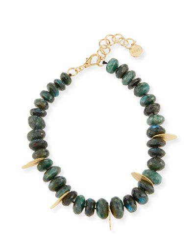 Faceted Green Labradorite Beaded Necklace