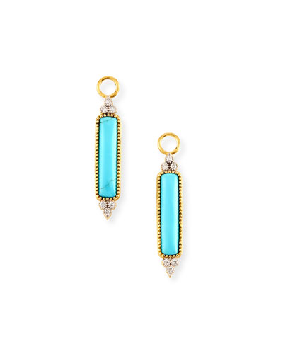Moroccan Elongated Turquoise & Diamond Earring Charms