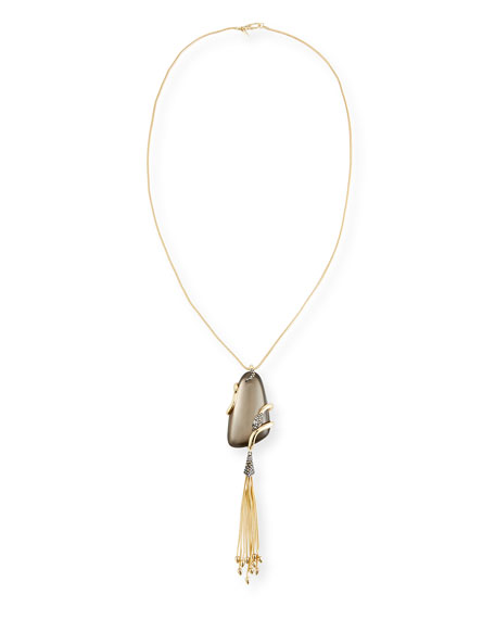 Alexis Bittar Wrapped Snake Pendant Necklace with Tassel LSLC9tlEV