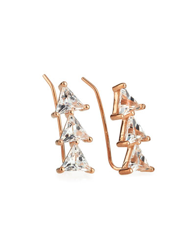 Chlo White Sapphire Trillion Cluster Earrings in 18K Rose Gold Plate