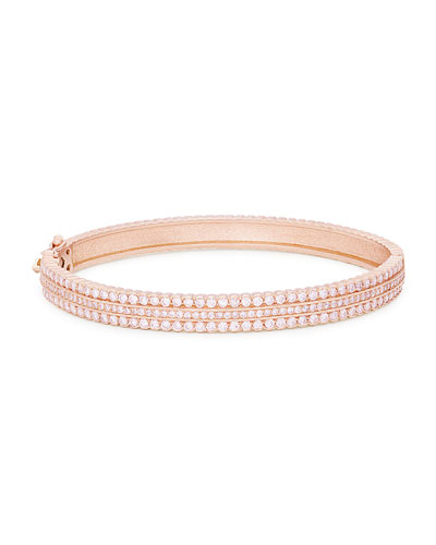 Hinged Scalloped White Diamond Bracelet in 18K Rose Gold