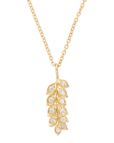 18K Gold Vine Pendant Necklace with Diamonds