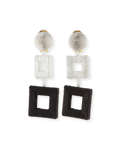 Silk-Wrapped Double-Square Earrings